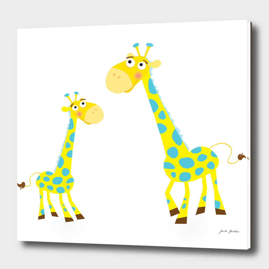 New hand-drawn Giraffe / yellow with Dots