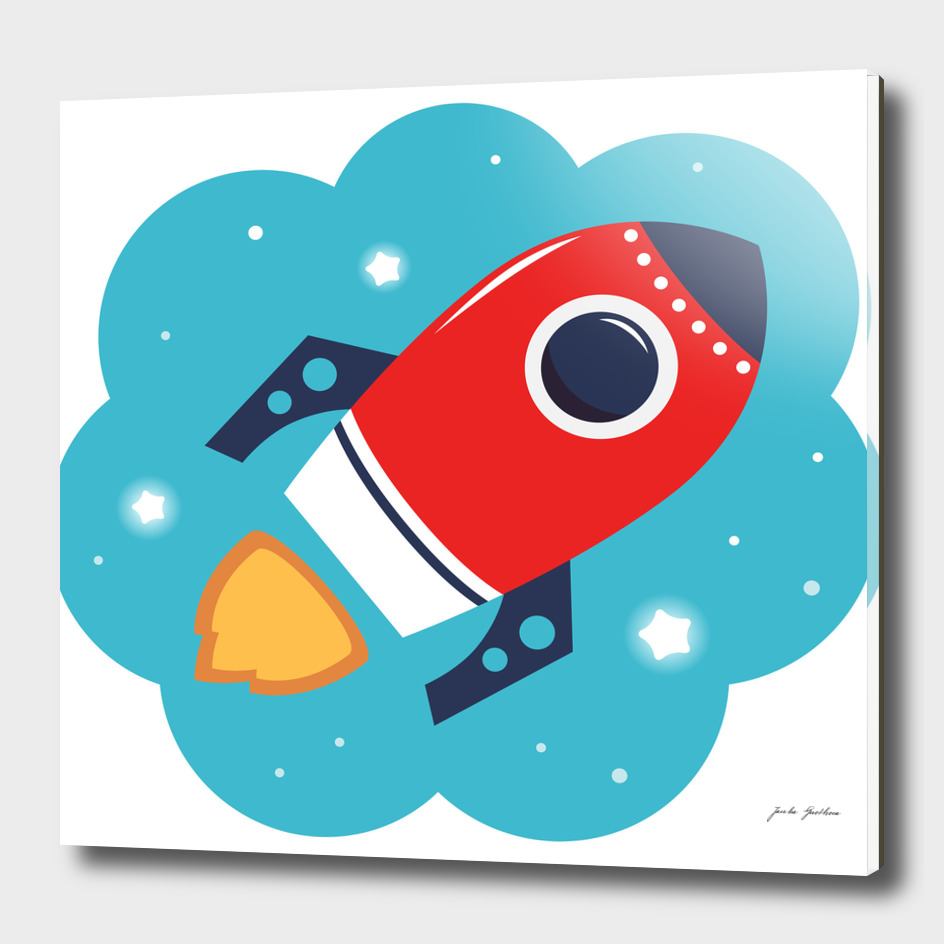 New handdrawn Original Rocket red blue