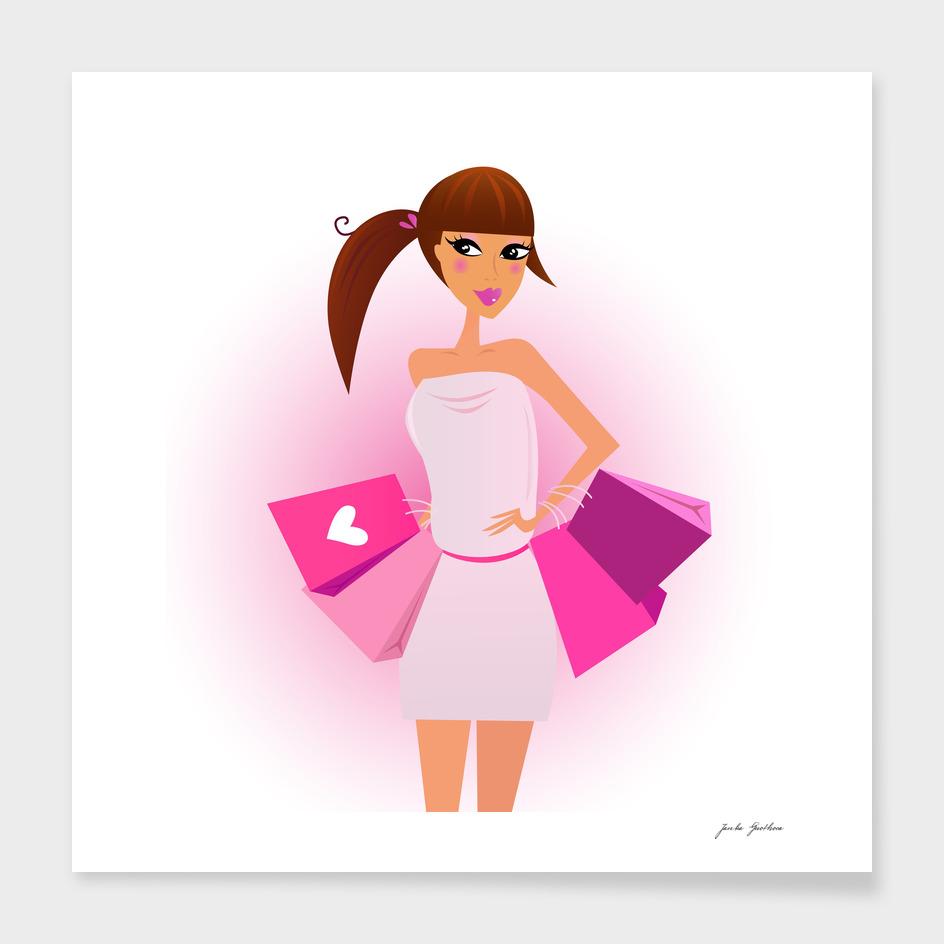 Shopping girl : Original illustration