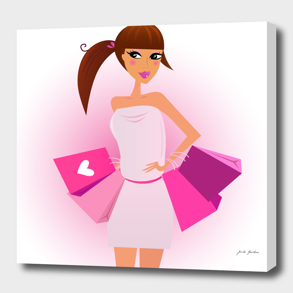 Shopping girl : Original illustration