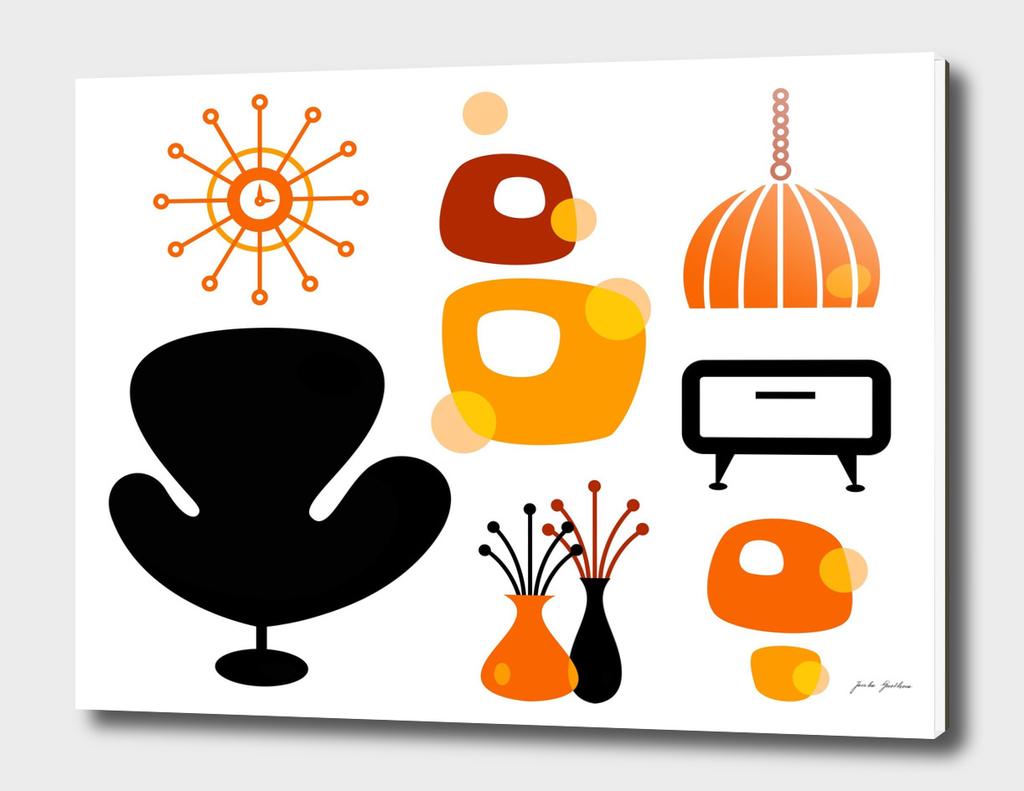 Vintage original design : black orange 60s