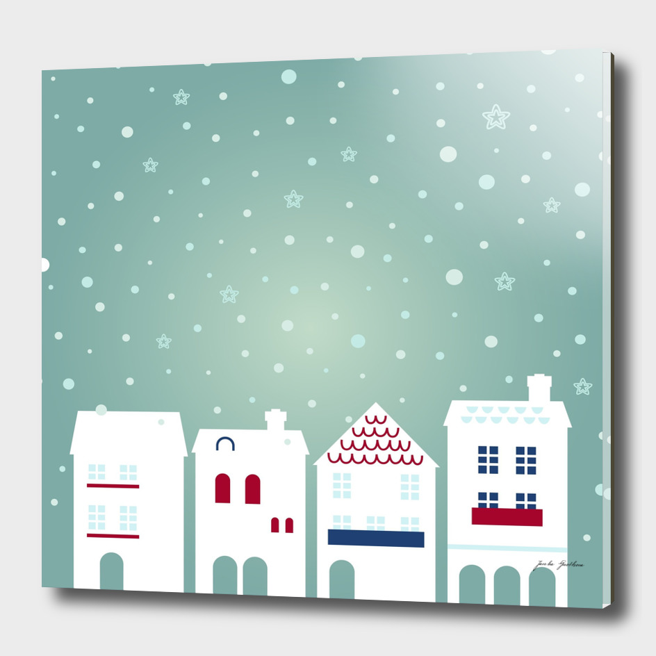 New xmas town with snowing background