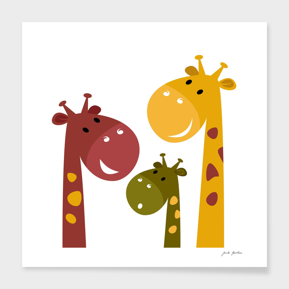 Three hand-drawn giraffe characters