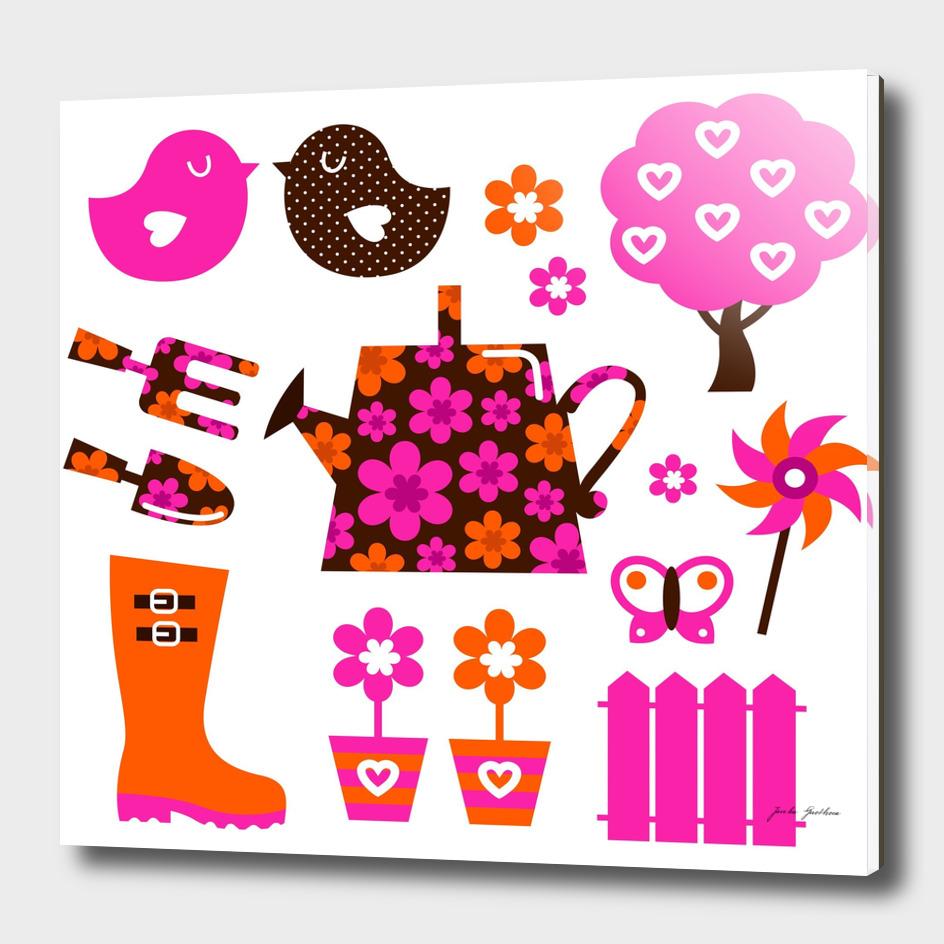 New spring original illustration : brown pink