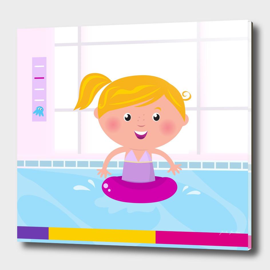 New girl in swimming pool