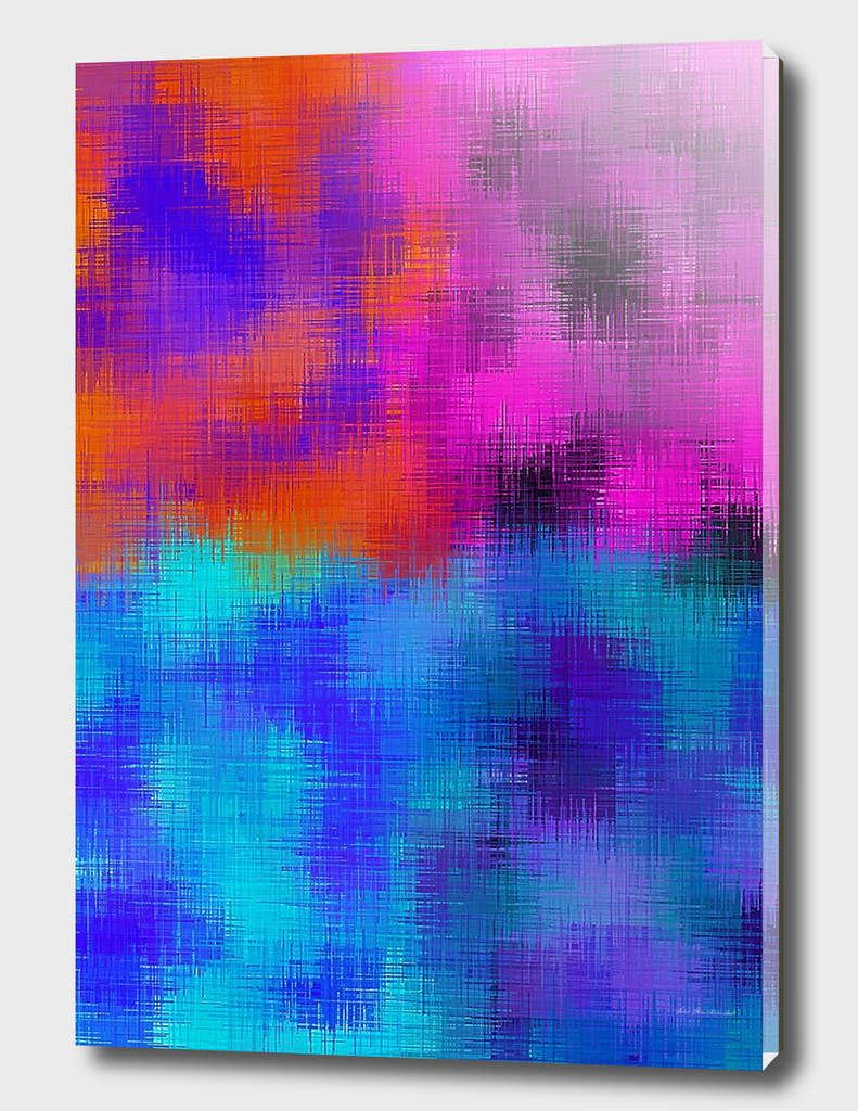 psychedelic graffiti painting abstract in blue orange pink