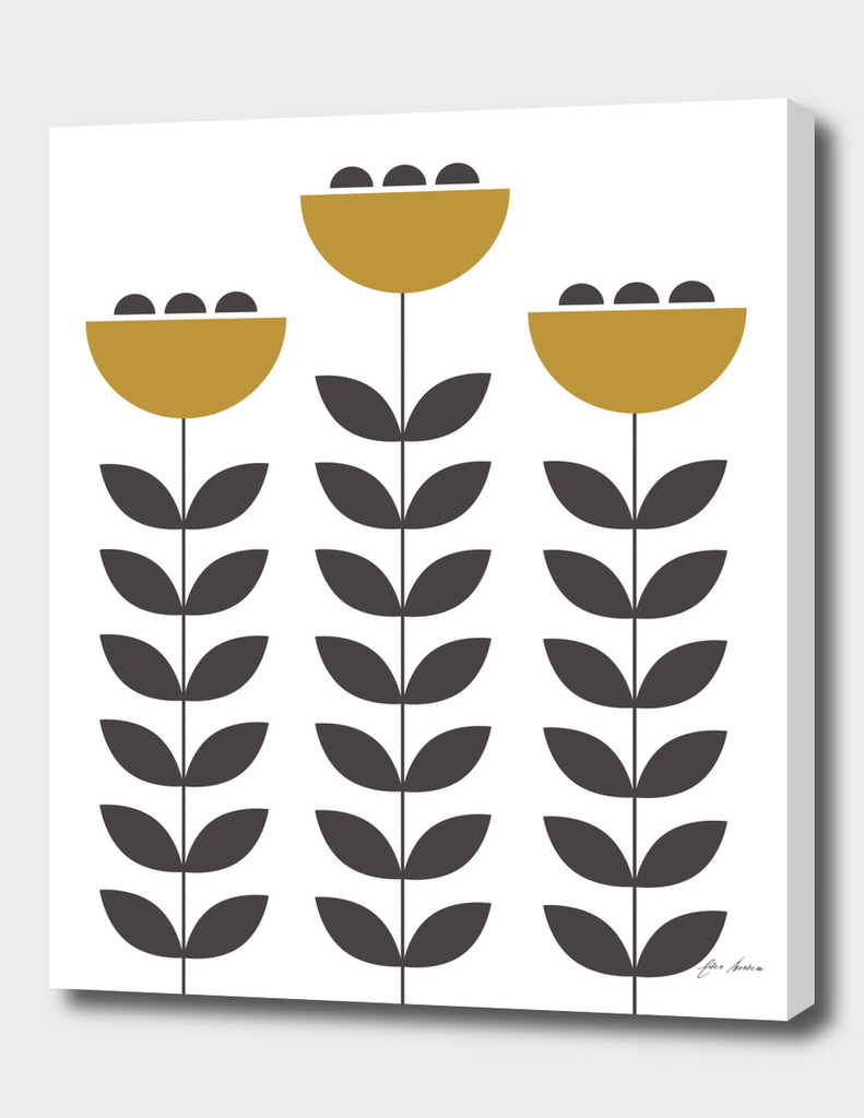 Mustard & Grey Scandinavian flowers