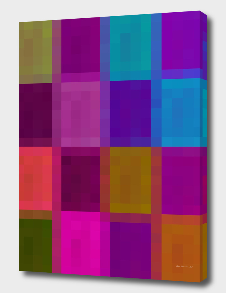 geometric pixel abstract in purple pink brown blue