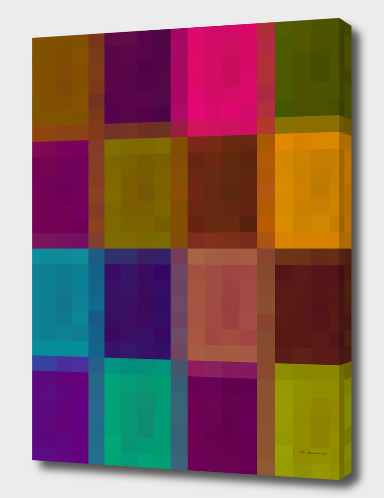 geometric pixel abstract in brown purple green blue