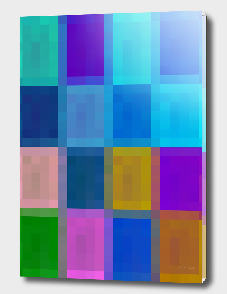 geometric square pixel abstract in blue purple green brown