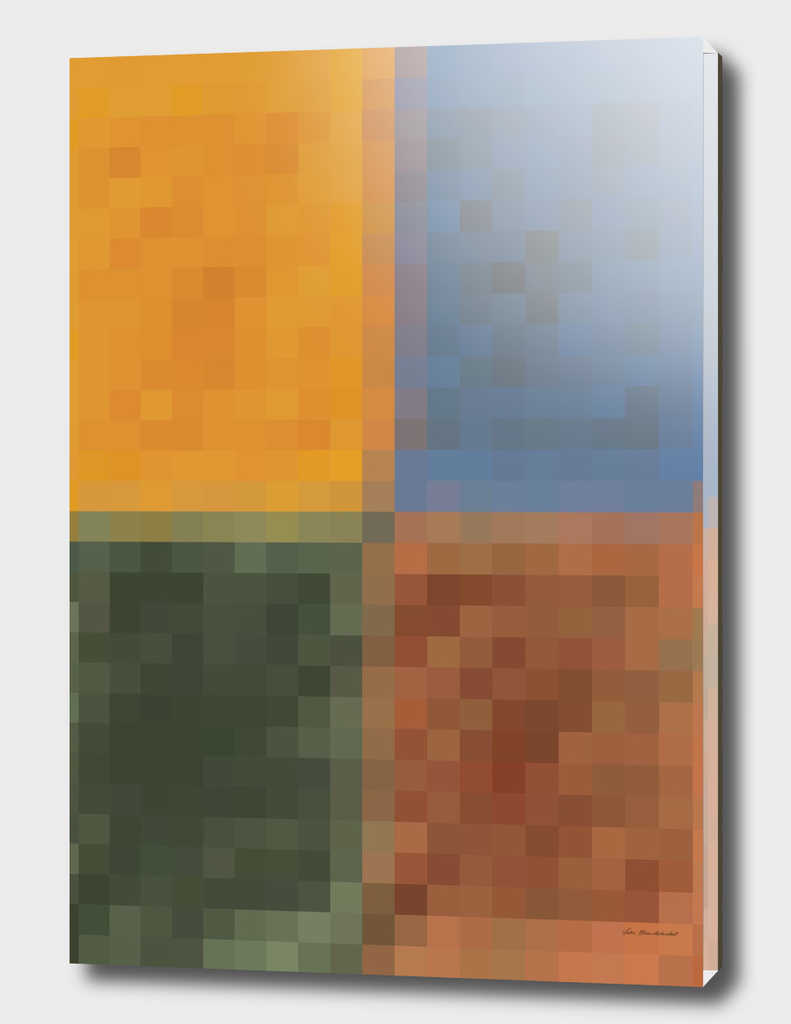 yellow blue green brown pixel abstract background