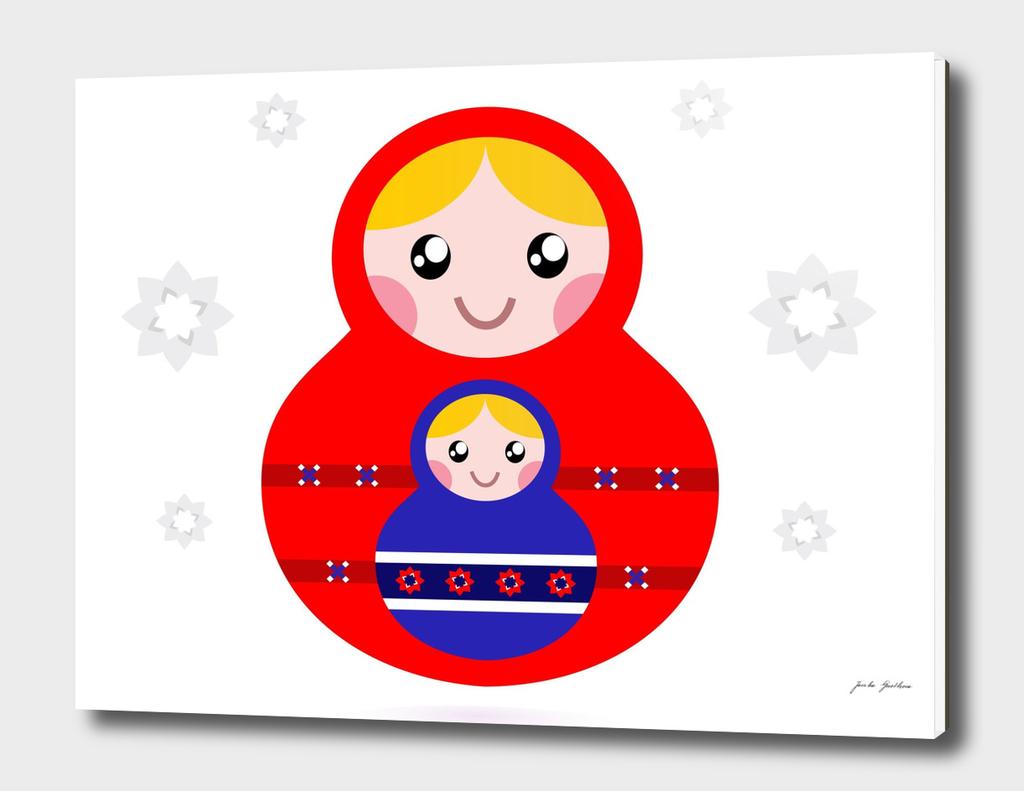 Hand drawn cute matroska : red, blue