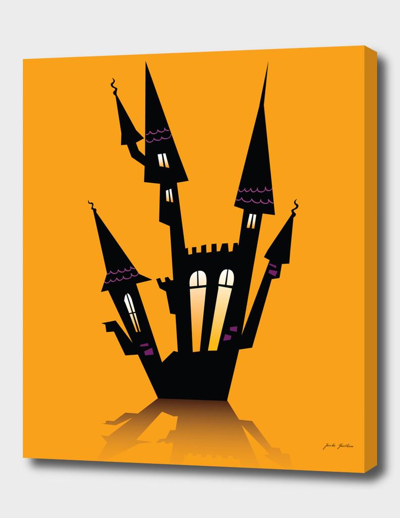 Halloween castle silhouette : black orange