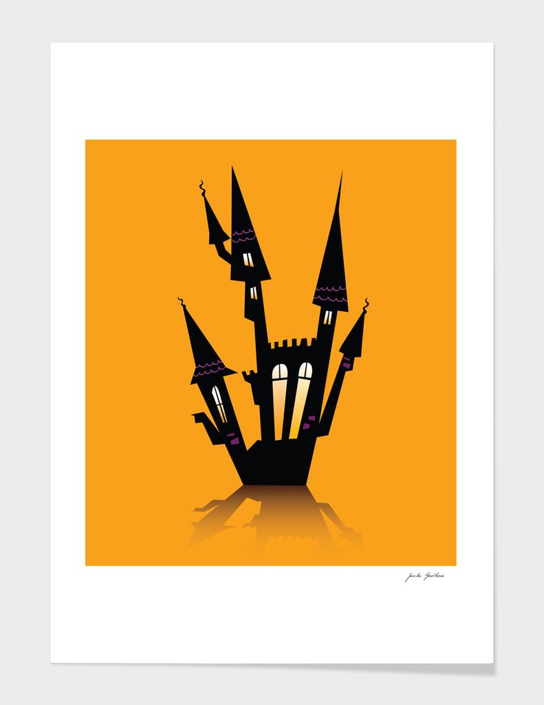 Halloween haunted house : orange black