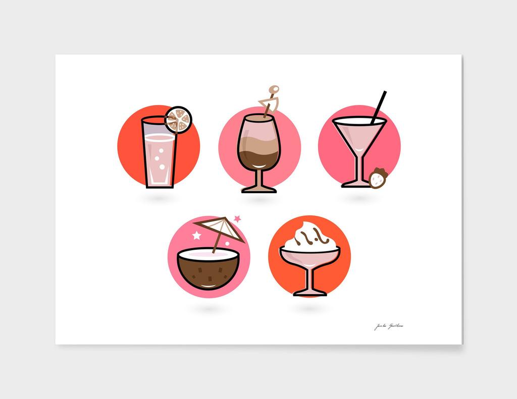 Hand drawn cute stylish Cocktails / VINTAGE edition