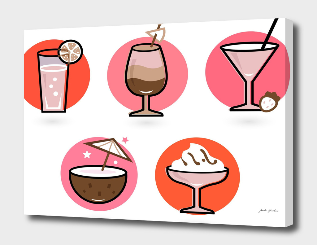 Hand drawn cute stylish Cocktails / VINTAGE edition
