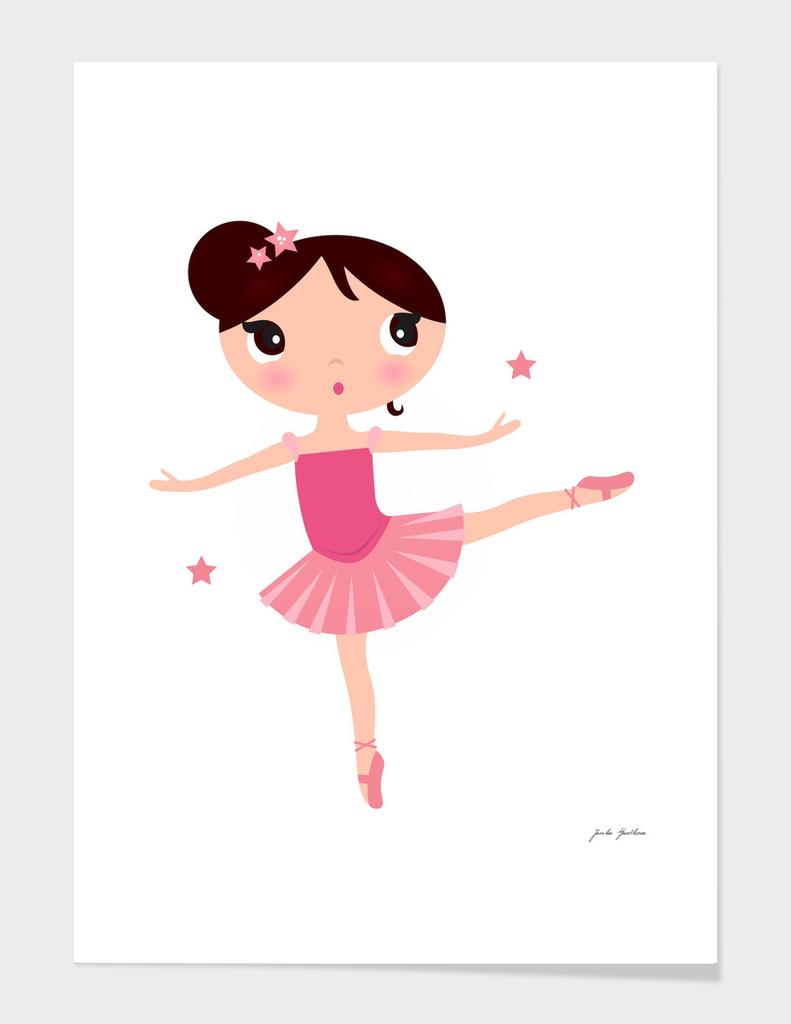 Little pink cute ballerina : on white