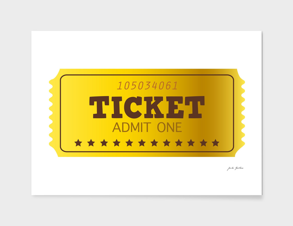 Hand drawn Vintage 60s TICKET