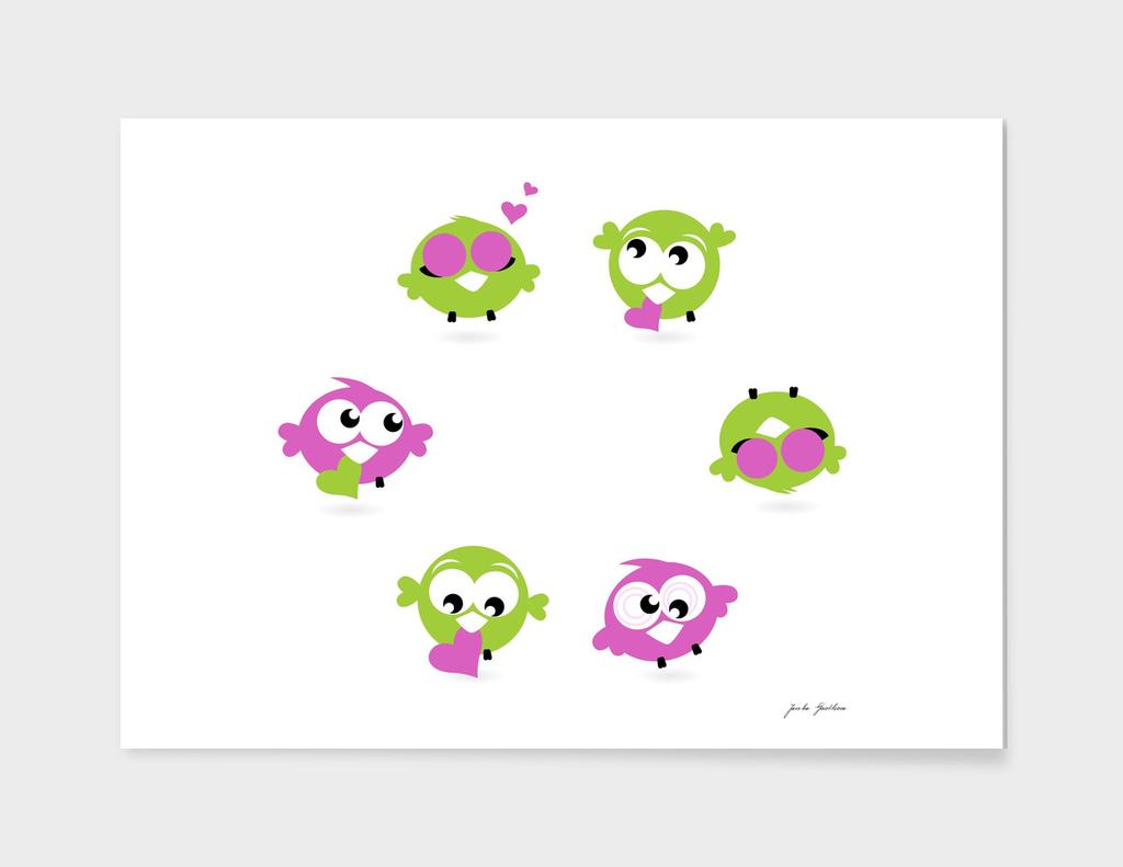 Cute hand drawn birds : pink green