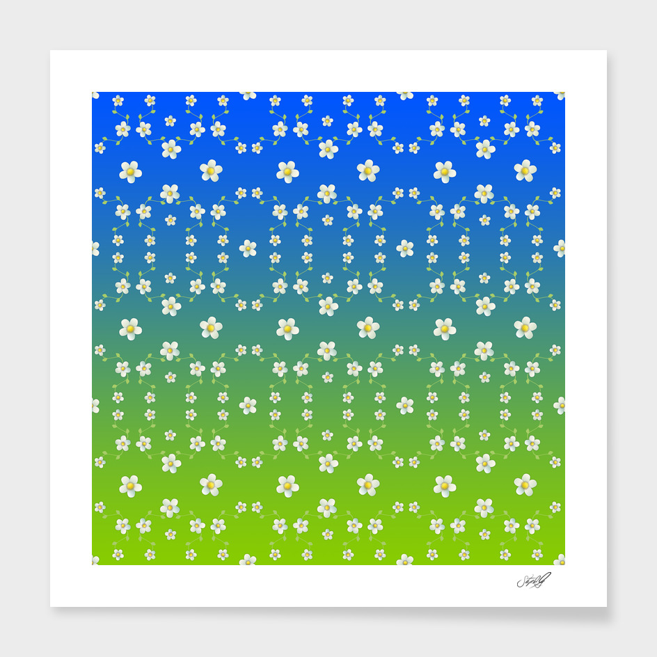 Spring Floral on blue / green ombre