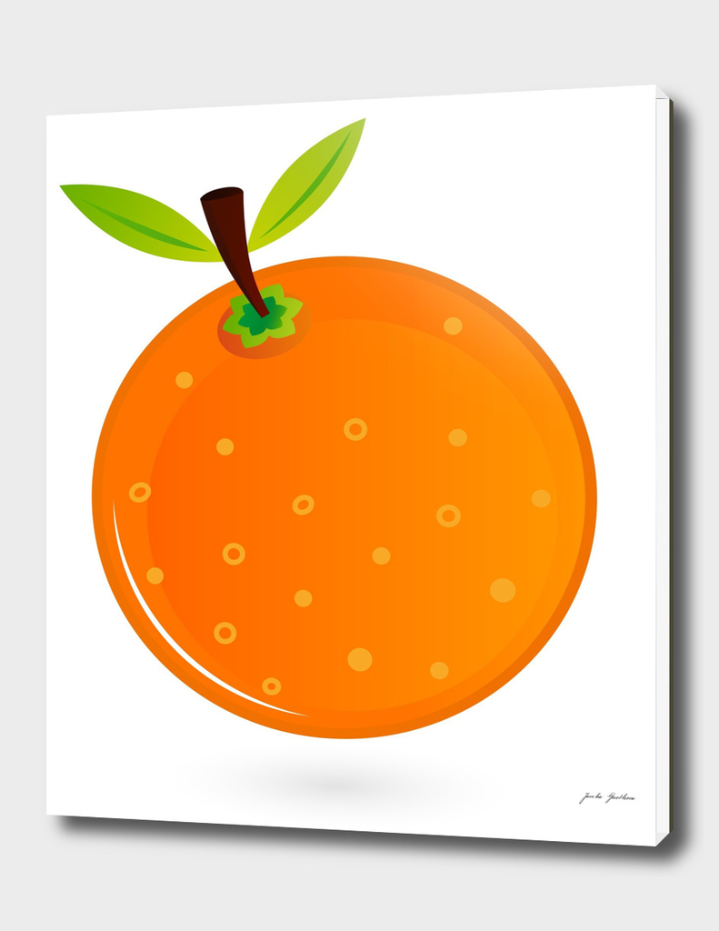 Hand drawn cute Orange on white
