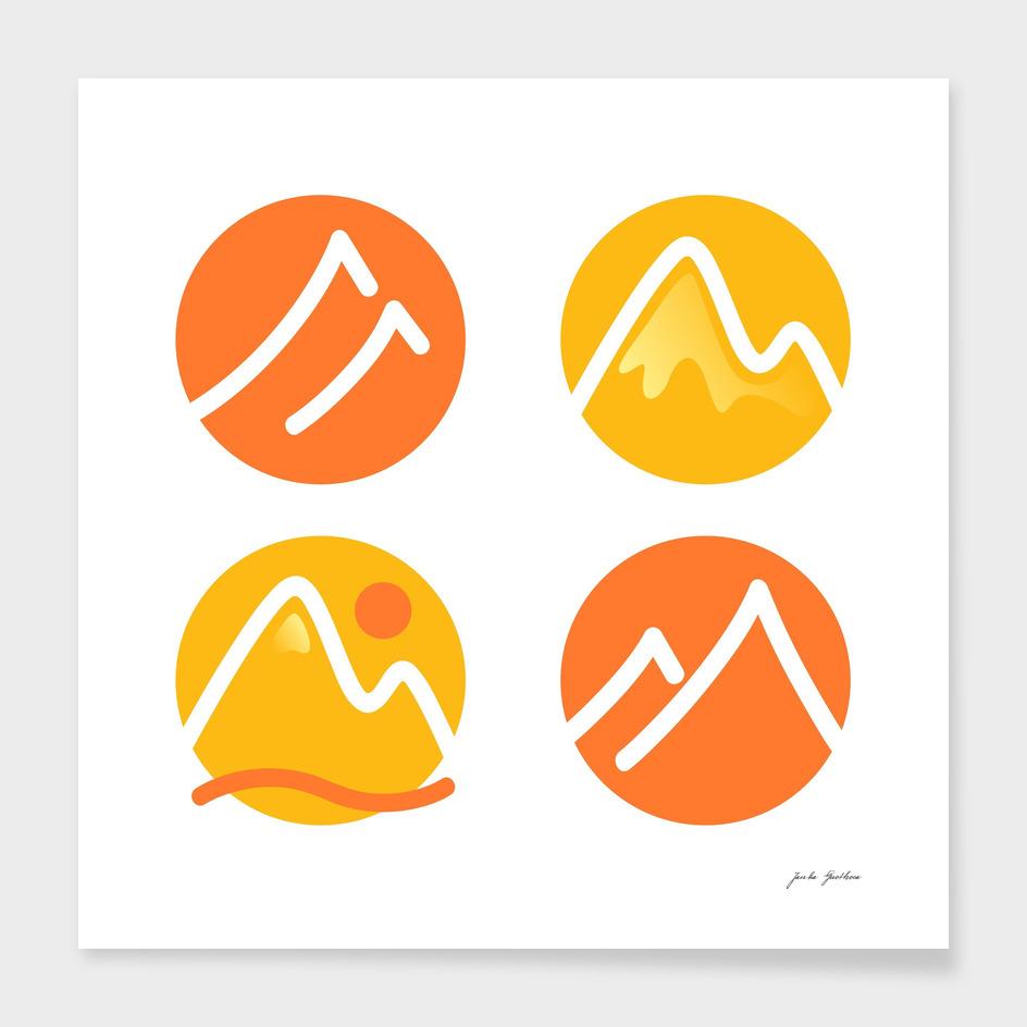 Stylish exotic icons : orange, yellow