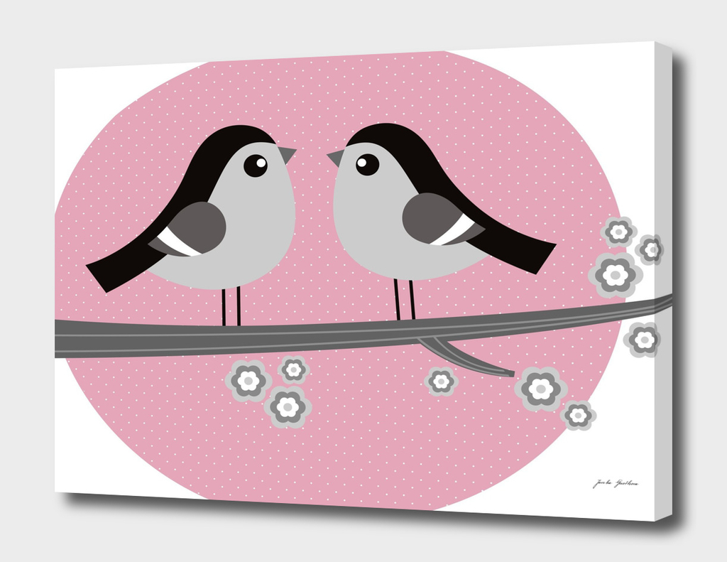 2 LOVE BIRDS : Kids art Illustration