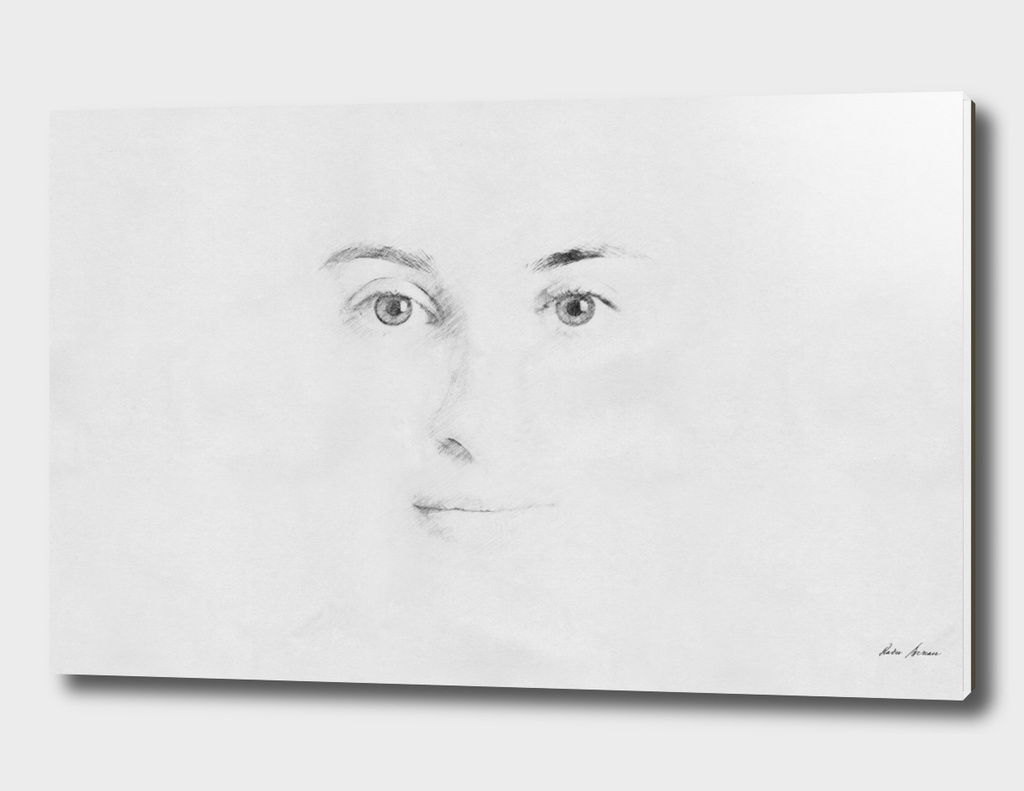 Woman Face Sketch On Paper