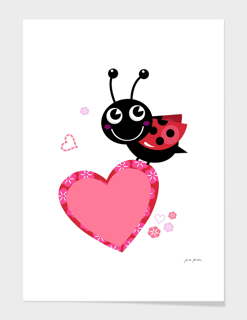 New! lady bug with Heart design