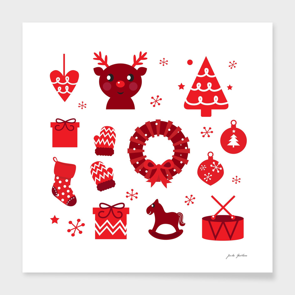 Hand drawn  folk xmas theme : RED