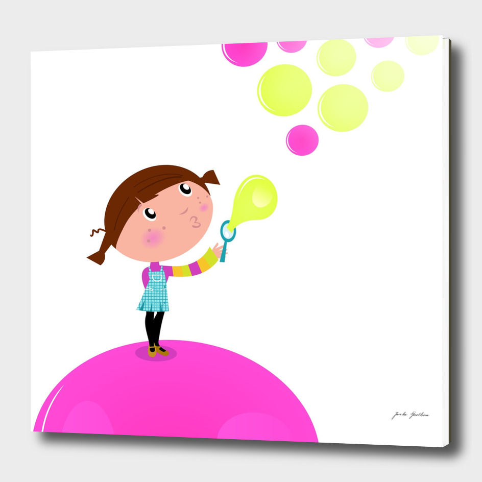 New cute handdrawn Kid with bubbles