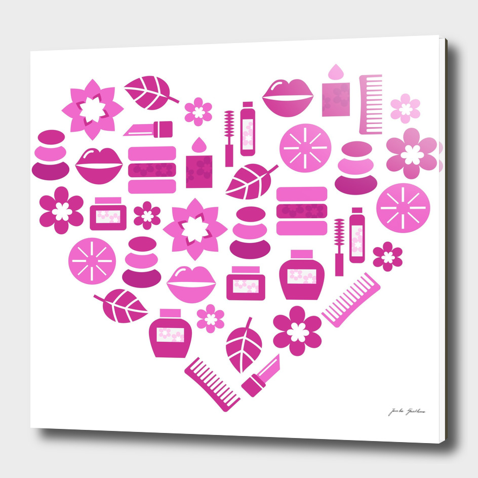 Cute wellness Heart : PINK on white