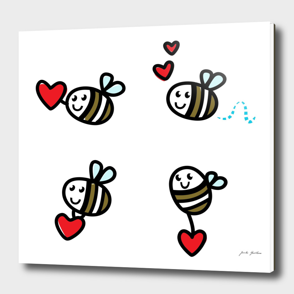 Cute hand-drawn bee characters on white