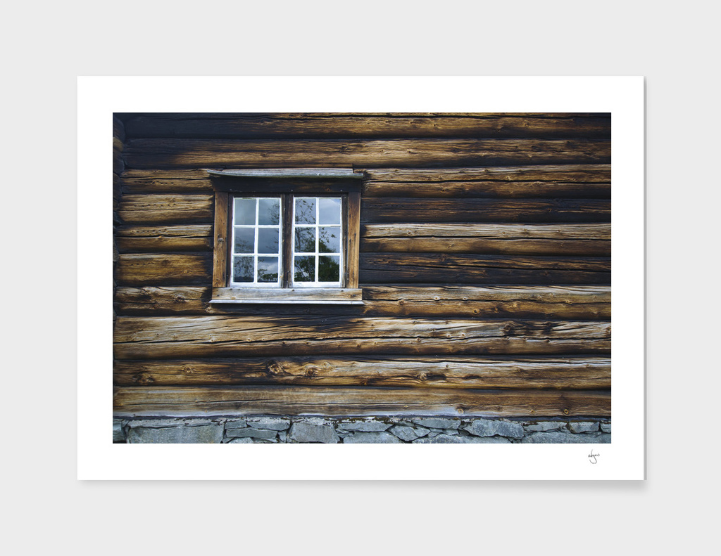 Timbered wooden wall with window