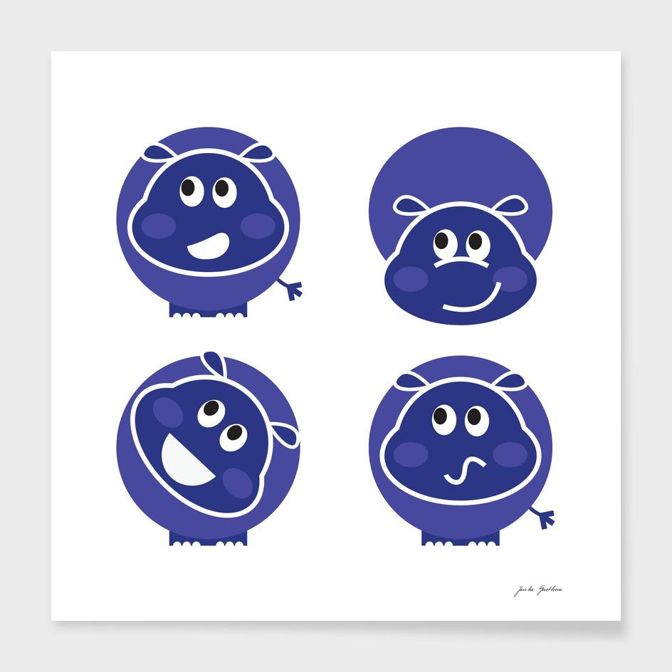 Hand drawn cute Hippo : Blue edition