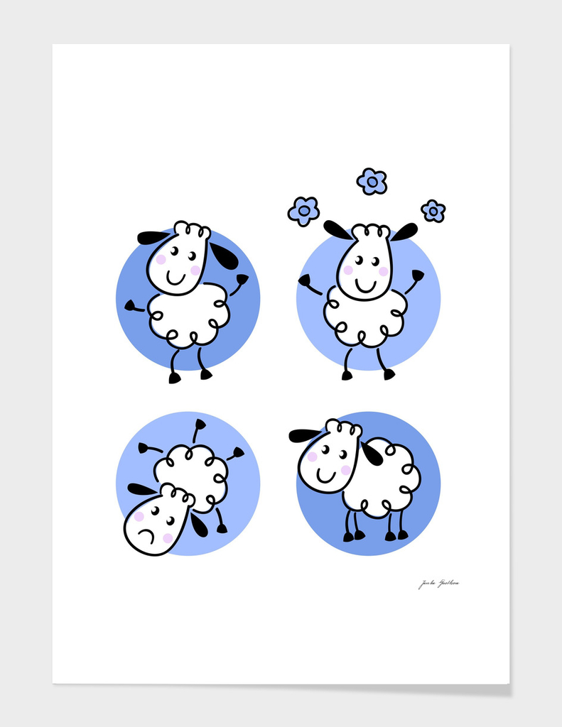 Cute stylish hand-drawn Sheeps : blue white