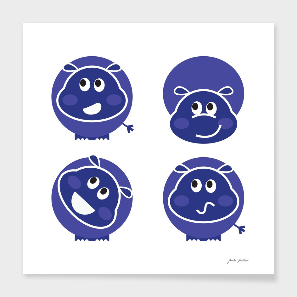 Cute blue hippo : Kids art