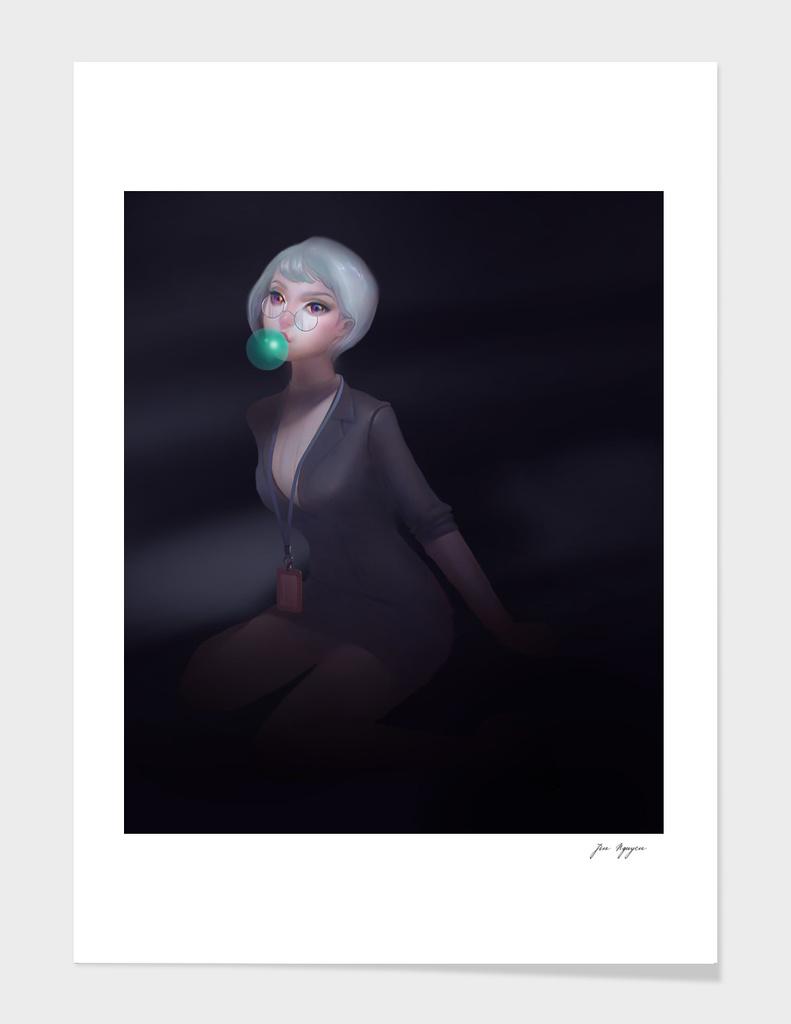 The secretary at night