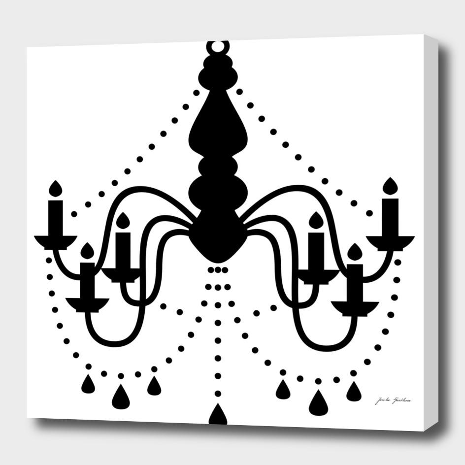Designers chandelier : black on white