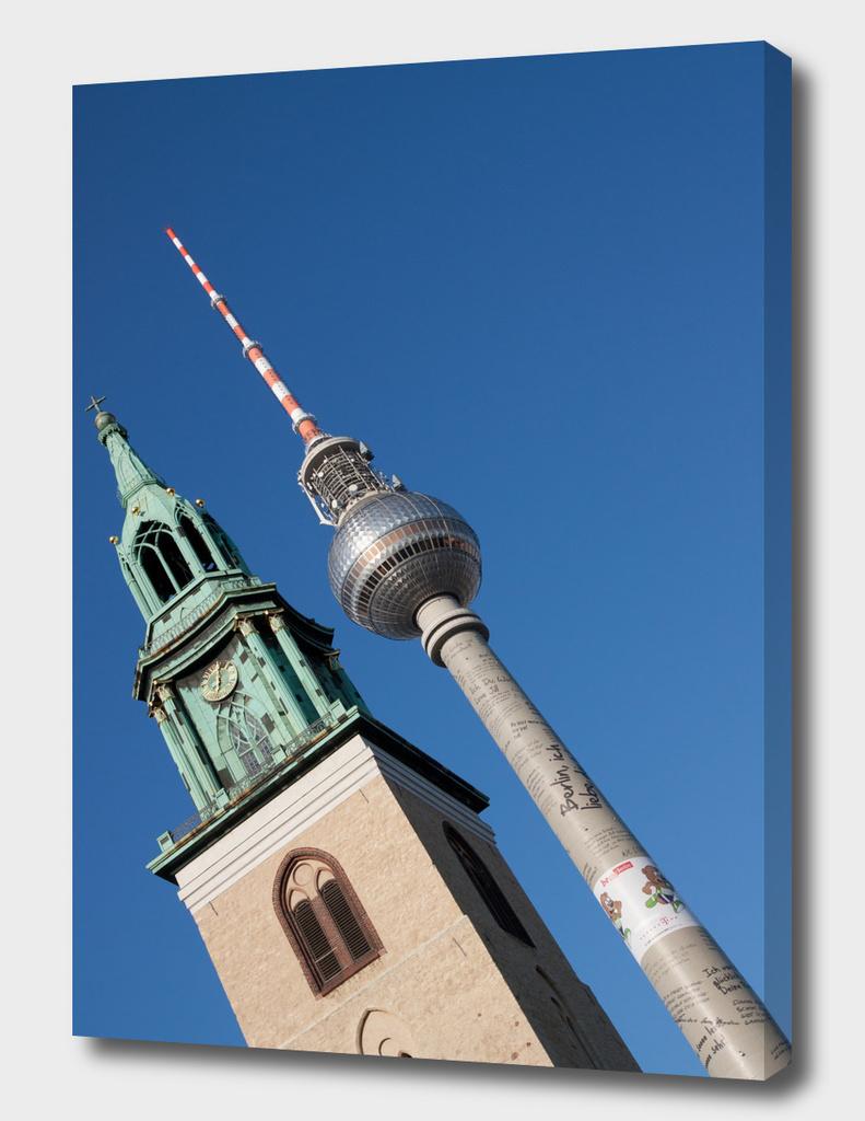 Berlin radio tower and church