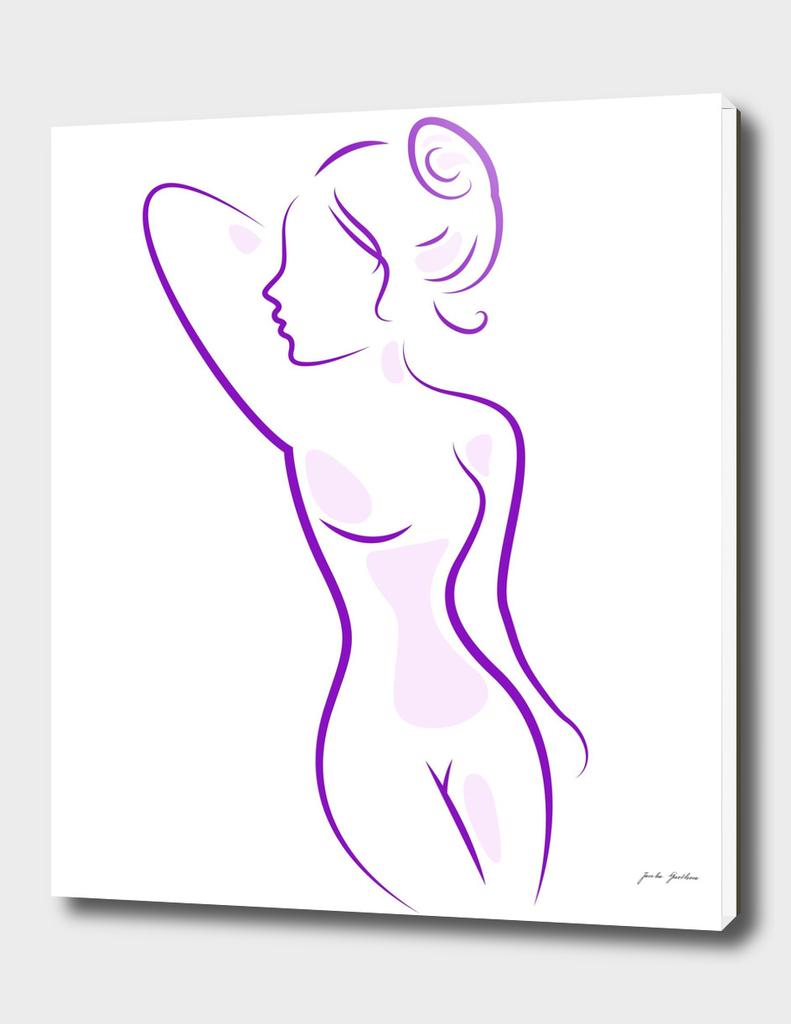 Naked stylish woman : purple on white