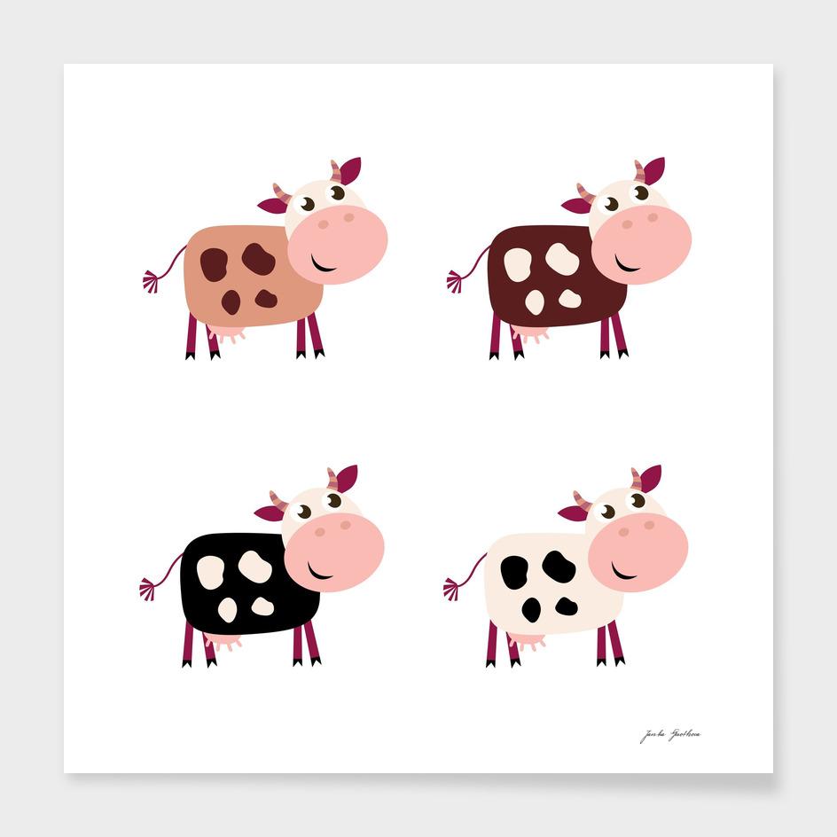 CUTE hand-drawn stylish Cows / brown