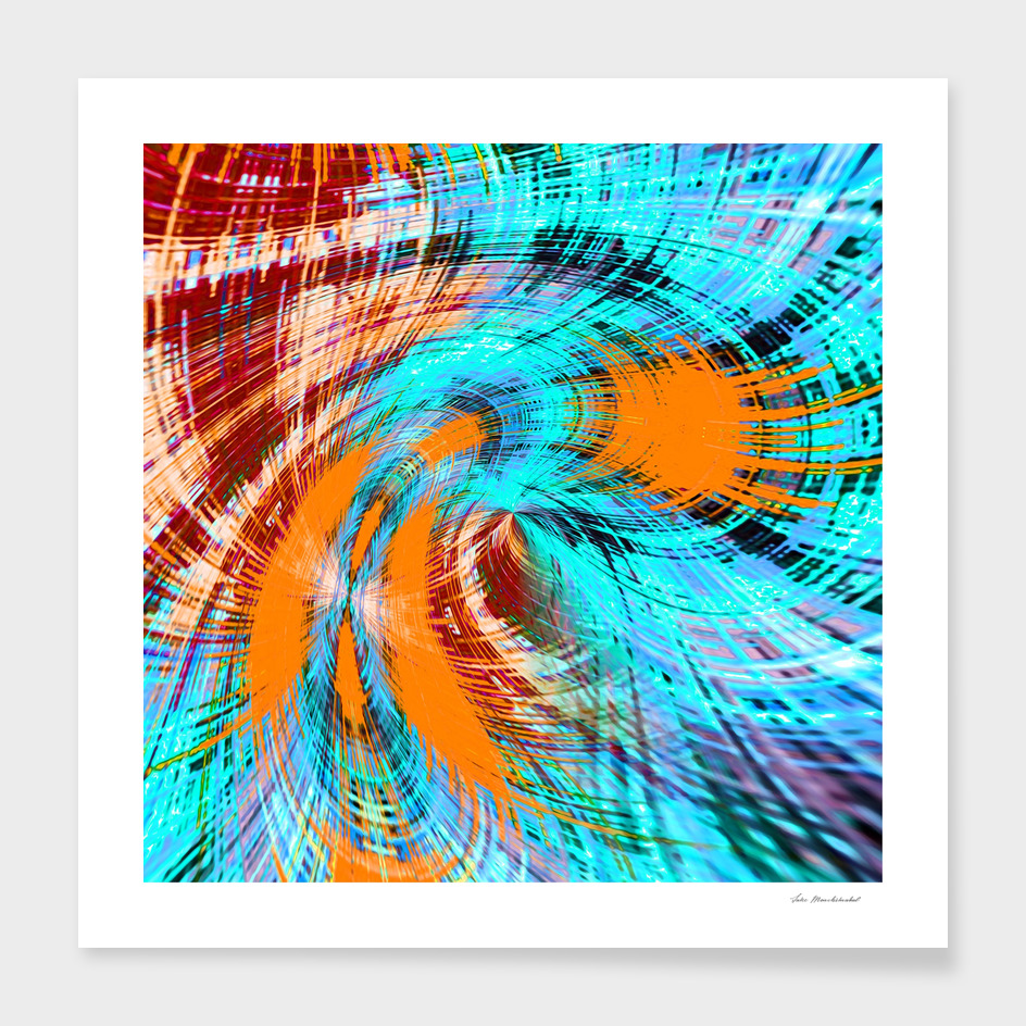 brown orange and blue curly line pattern abstract