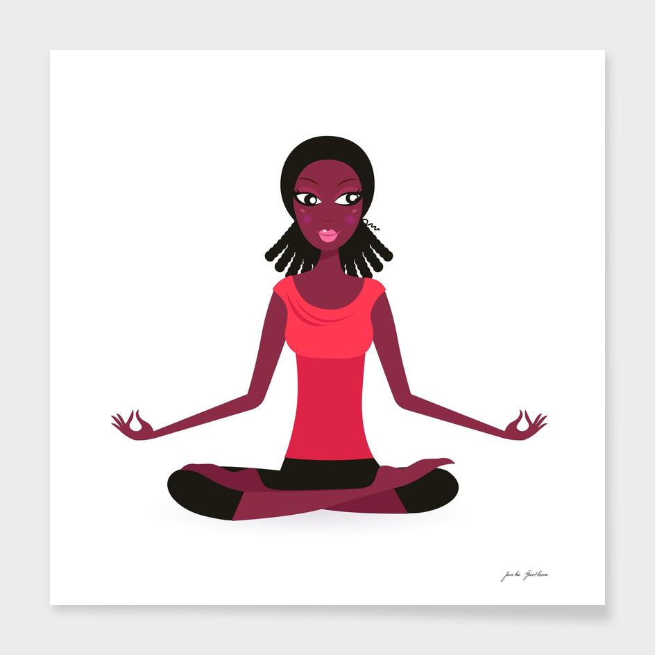 Dark skin yoga woman / brown red