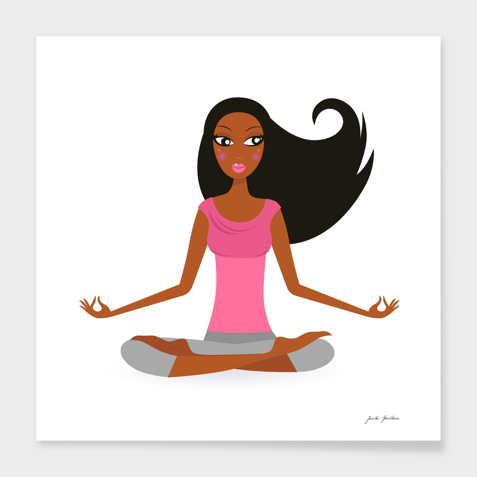 Hand drawn cute yoga girl : pink