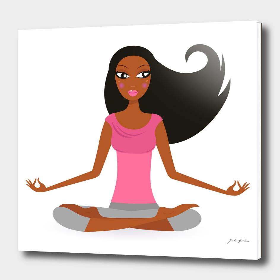 Hand drawn cute yoga girl : pink