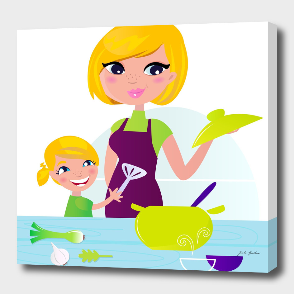 Mother with child : Kids illustration
