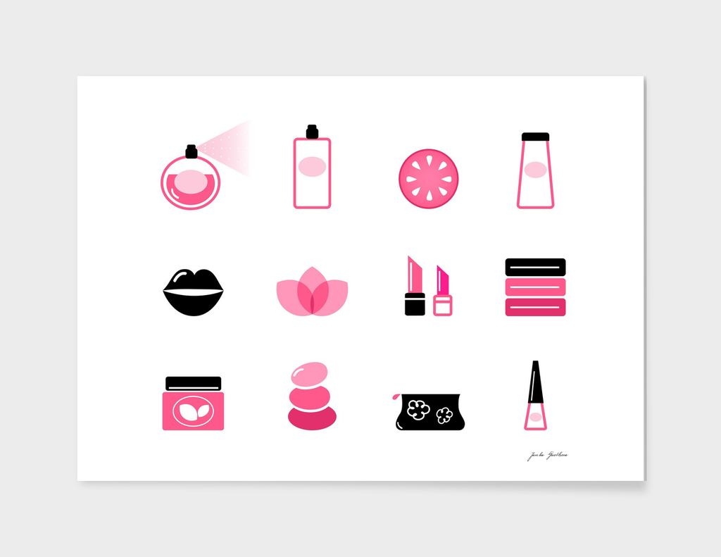 Wellness cosmetics : pink and black ICONS