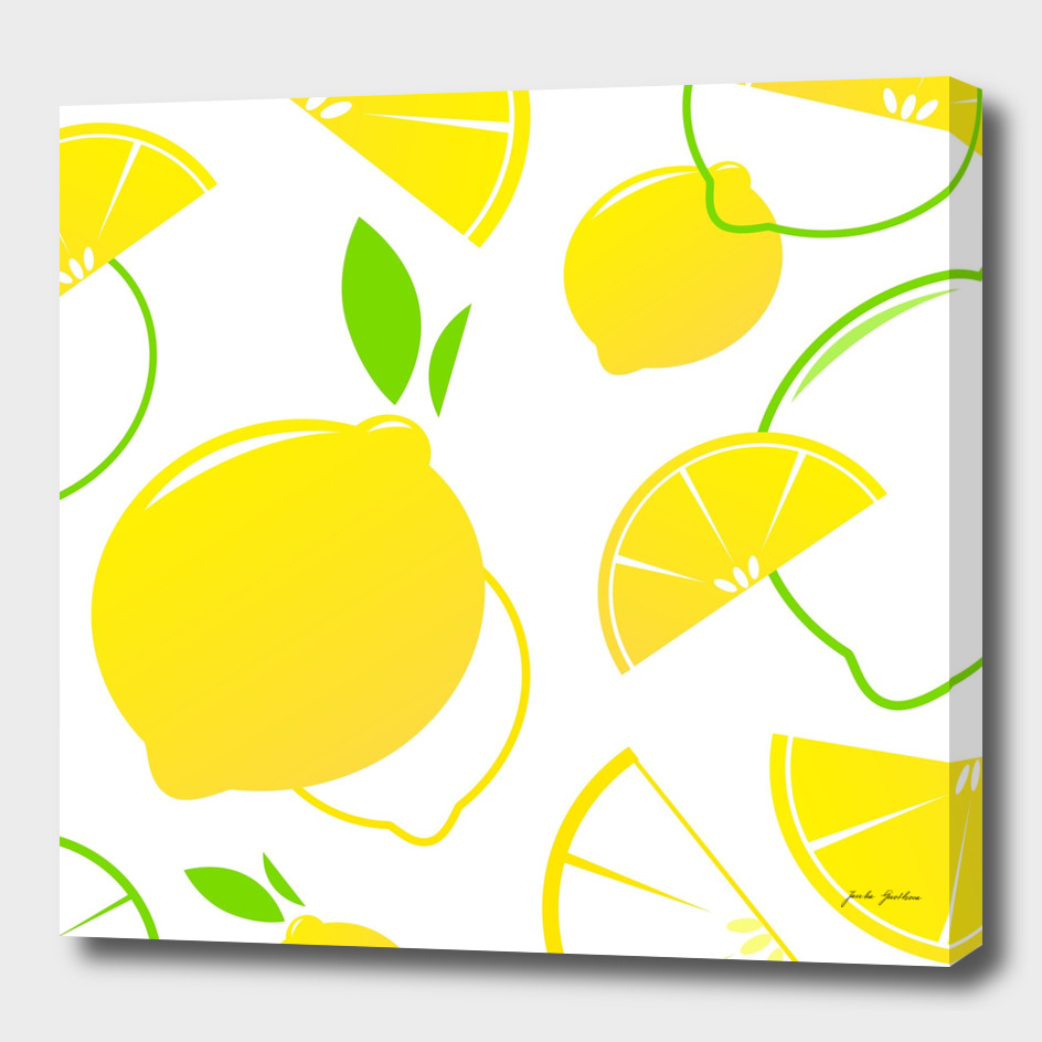 New vintage lemons / yellow on white
