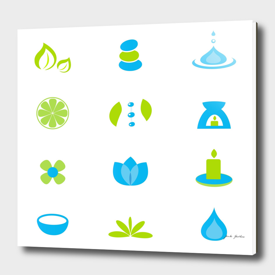 Wellness spa Icons : blue green
